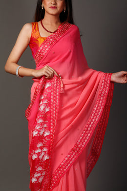 Chiffon Saree in Pink color with Pearl, Swarovski, Thread work.