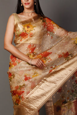 Organza  Saree in Cream color with Digital Print, Sequins, Zari work.