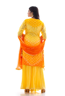 Suits in Yellow color with Gota Patti, Aari, Mirror work.