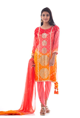 Suits in Peach color with Gota Patti, Aari, Mirror work.