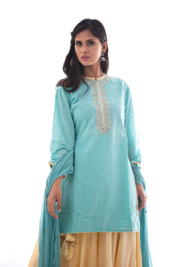 Suits in LightBlue color with Sequins, Aari work.