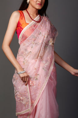 Organza Saree in Pink color with Cutdana, Pearl, Sequins, Thread work.