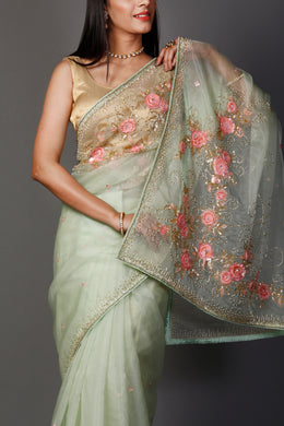 Organza Saree in LightGreen color with Applique Work, Cutdana, Pearl, Sequins, Thread work.