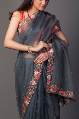 Organza Saree in Grey color with Pearl, Thread work.