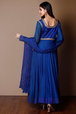 Suit in Dark Blue color with Zardozi & Danka Work