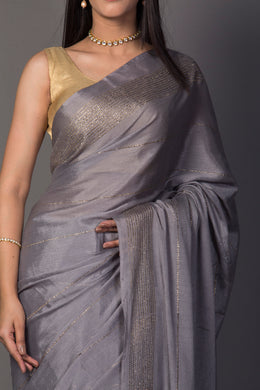 Chinon Saree in Grey color.