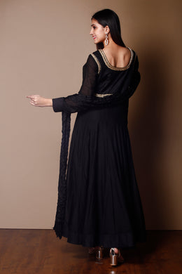 Black Color Cotton Silk Suit With Zardozi & Danka Work
