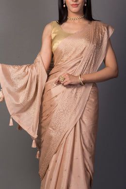 Chinon Saree in Peach color.