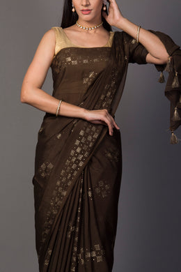 Chinon Saree in Dark Green color.