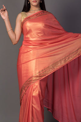 Shimmer Georgette Saree in Peach color with Swarovski work.