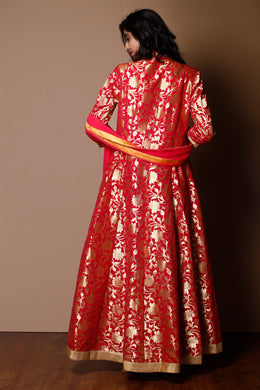 Banarsi Suit in Pink color with Gota Patti, Pearl work.