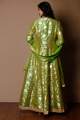 Green Color Silk Suit With Gota Patti Work