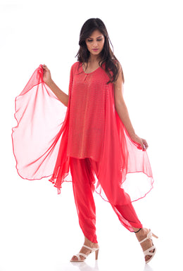 Kurti in Pink color with Cutdana work.