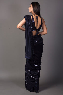 Georgette Saree in Dark Blue color with Sequins work.