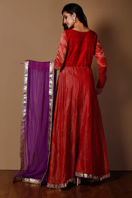 Banarsi Tissue Suit in Red color with Gota, Zardozi  work.