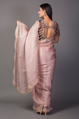 Organza Saree in Pink color with Cutdana, Pearl work.