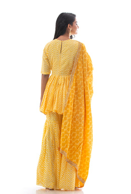 Suits in Yellow color with Block Print, Dori, Sequins work.