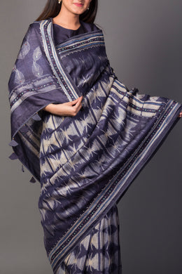Tussar Saree in Dark Blue color with Mirror, Shibori, Thread work.