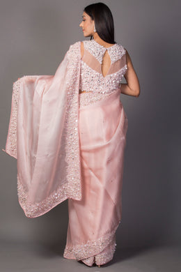 Organza Saree in Pink color with Mirror, Pearl, Sequins, Stone work.
