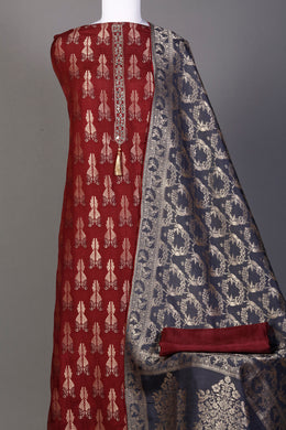 Brocade Unstitched Suit in Red color with Aari, Mirror, Pearl work.