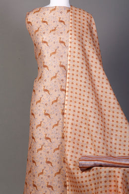 Linen Printed Unstitched Suit in Brown color.