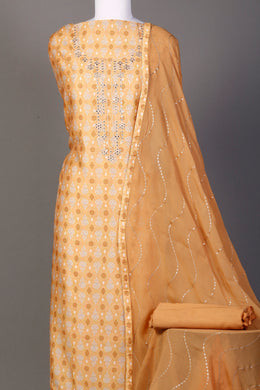 chenderi Unstitched Suit in Gold color with Mirror, Printed, Sequins, Thread work.