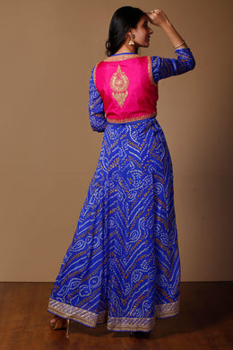 Bandhej Suits in Dark Blue color with Dori, Sequins work.
