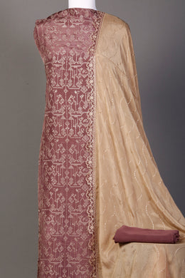 Silk Unstitched Suit in Pink color with Sequins, Thread work.