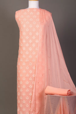 Linen Unstitched Suit in Peach color with Sequins, Thread work.
