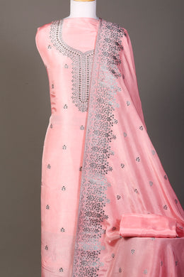 Brocade Unstitched Suit in Pink color with Stone work.