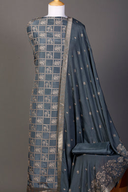 Silk Unstitched Suit in Grey color with Sequins, Thread work.