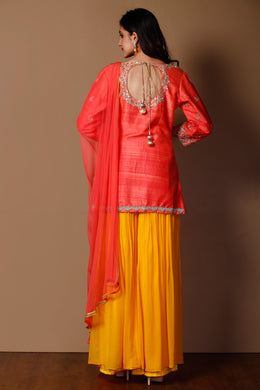 Suit in Orange color with Gota Patti, Sequins, Zardozi work.