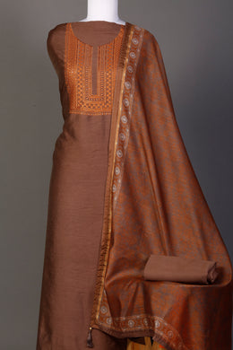 Printed Chanderi Unstitched Suit in Brown color with Sequins, Thread work.