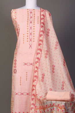 Printed Chanderi Unstitched Suit in Peach color with Stone, Swarovski work.