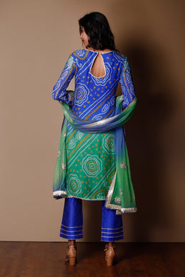 Suit in Dark Blue color with Bandhej, Gota Patti, Pearl, Zardozi work.