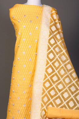 Chanderi dobby Unstitched Suit in Gold color with Thread work.