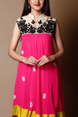 Kurti in Pink color with Sequins, Thread work.