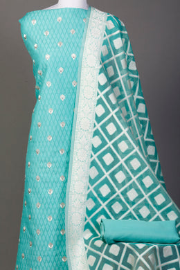 Chanderi dobby Unstitched Suit in LightGreen color with Thread work.