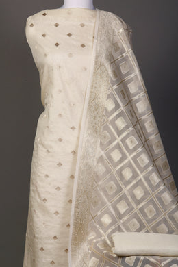 Chanderi Unstitched Suit in Cream color with Thread, Zari work.