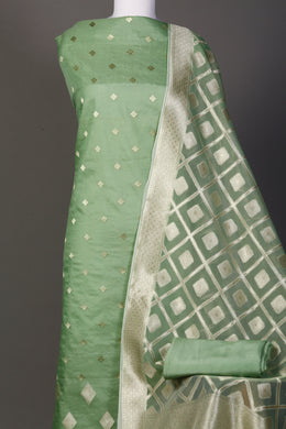Chanderi Unstitched Suit in LightGreen color with Thread work.
