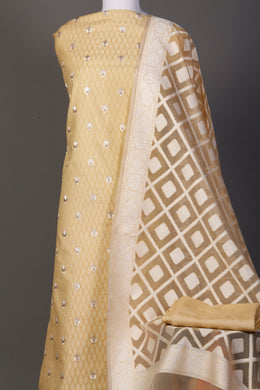 Chanderi dobby Unstitched Suit in Yellow color with Thread work.