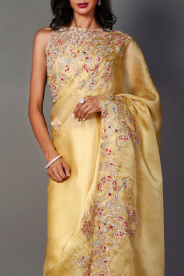 Organza Saree with Pearl, Sequins, Zardozi work.