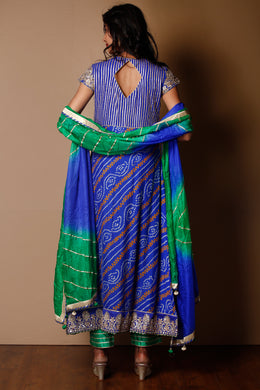 Suit in Dark Blue color with Bandhej, Gota Patti, Sequins, Zardozi work.