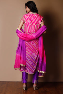 Suit in Pink color with Bandhej, Gota Patti, Sequins, Zardozi work.