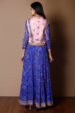 Bandhej Suit in Dark Blue color with Dori, Sequins, Thread work.