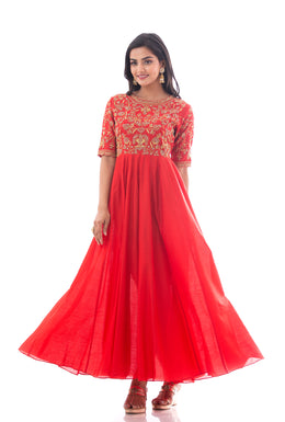 Kurti in Red color with Aari, Sequins work.