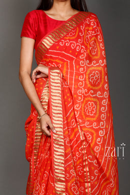 Bandhej Georgette  Saree with Zari work.