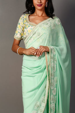 Georgette Saree with Pearl, Thread work.