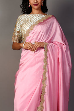 Silk Saree with Cutdana, Pearl, Sequins work.