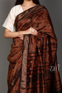 Printed Chinia silk  Saree with Zari work.